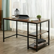 Home Office Desk Walnut Computer Desk & Writing Table with 2 Open Book Shelves