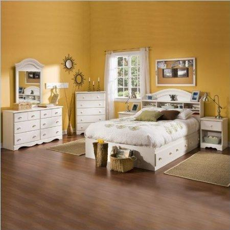 Kids Full Wood Bookcase Bed 4 Piece Bedroom Set In White Wash