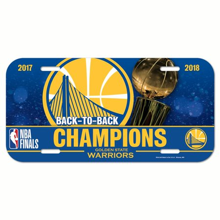National Champions License Plate - Golden State Warriors Official NBA 2018 National Champions License Plate Plastic by Wincraft 332301