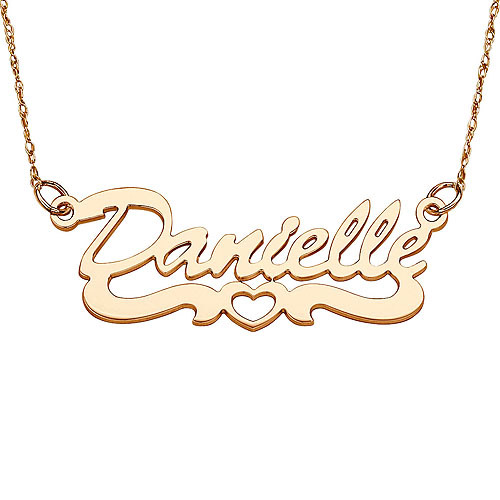 Personalized Women's 14kt Gold Script Name Necklace with Open Heart Tail, 18""