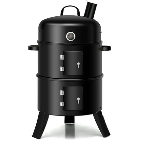 Costway 3-in-1 Portable Round Charcoal Smoker Vertical BBQ Grill Built-in Thermometer