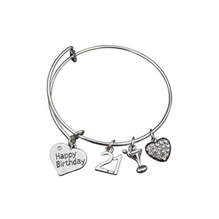 21st Birthday Gifts For Her Expandable Charm Bracelet Adjustable Bangle Perfect