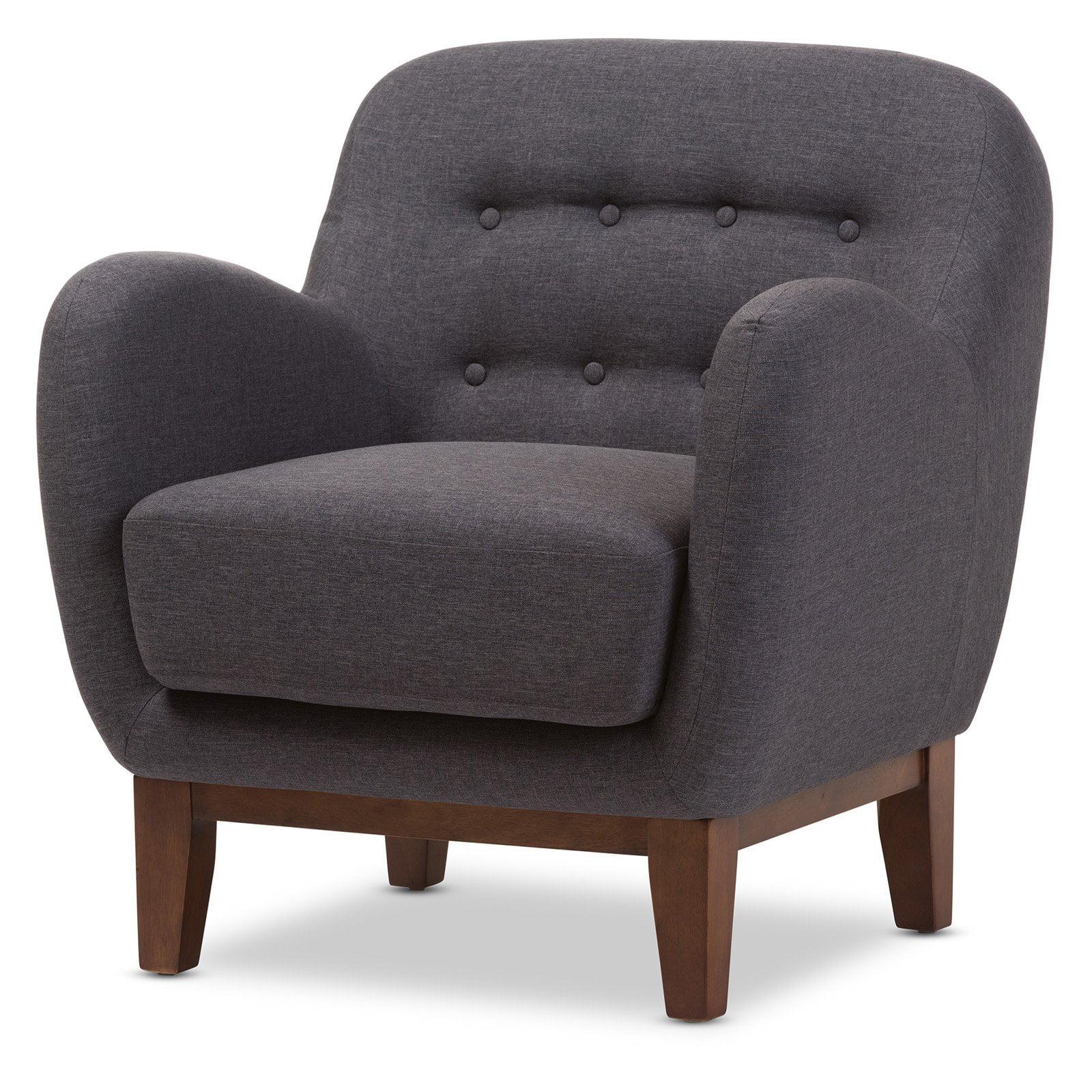 Baxton Studio Sophia Mid-Century Dark Gray Fabric Upholstered Button-Tufted Armchair by Baxton Studio
