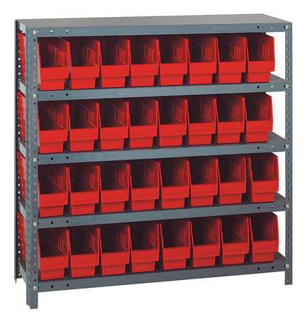 Bin Shelving,Solid,36X12,32 Bins,Red QUANTUM STORAGE SYSTEMS 1239-201RD