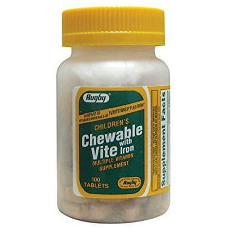 Rugby Chewable Vite With Iron Supplement, 100 ea