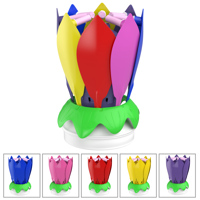 Rotating Musical Flower Birthday Candle, Multiple Colors