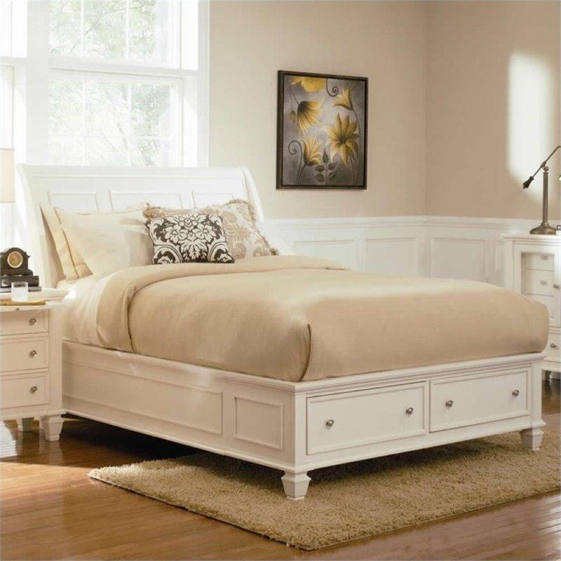 Bowery Hill Queen Sleigh Bed with Storage Footboard in White by