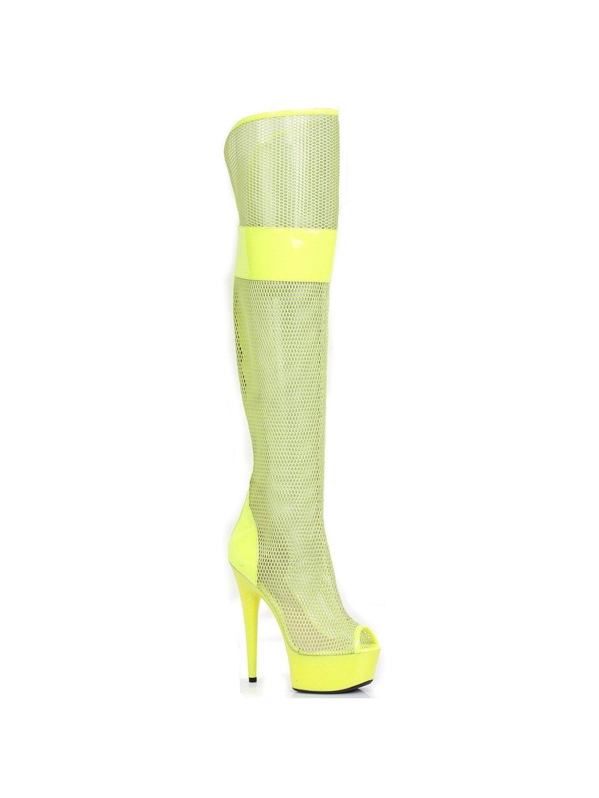 Ellie Shoes E-609-Ivy 6 Peep Toe Thigh / High Mesh Boot Yellow / Thigh 7 e8a174