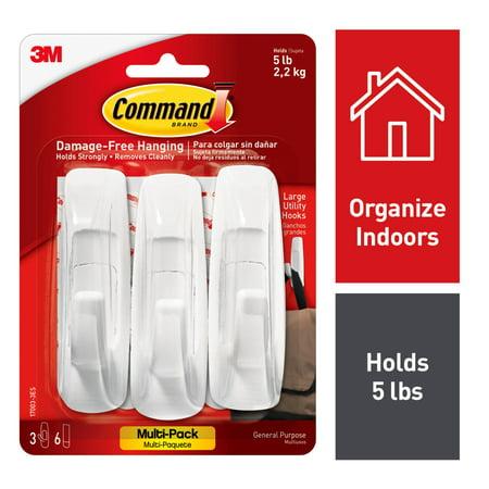 Command Utility Hook Value Pack White Large 3 Hooks 6 Strips Pack