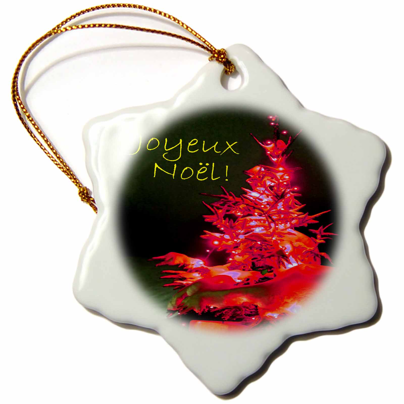 3dRose Pretty Christmas Tree Joyeux Noel in Red with Gold Text, Snowflake Ornament, Porcelain, 3 - inch