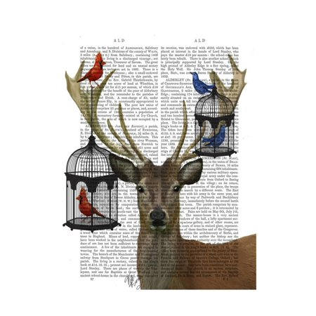 (Deer and Bird Cages Print Wall Art By Fab Funky)