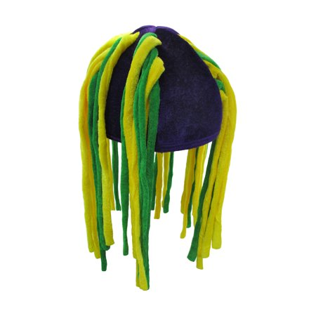 Plush Mardi Gras Dangling Dreadlock-Like Tube Hair Hat Costume Accessory](Dreadlock Hat)