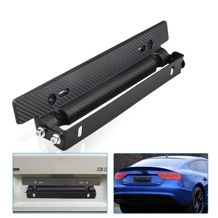 Universal Adjustable Carbon Fiber Car Racing License Plate Frame Holder Bracket