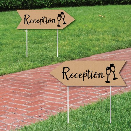 (Rustic Wedding Reception Signs - Wedding Sign Arrow - Double Sided Directional Yard Signs - Set of 2 Reception Signs)