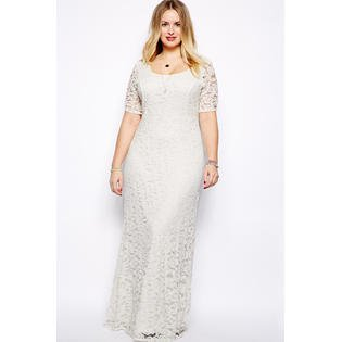 Unomatch Women Back Zip Fastening Long Lace Dress Plus Size Dress White
