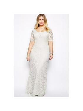69a58a1c542 Product Image Unomatch Women Back Zip Fastening Long Lace Dress Plus Size  Dress White