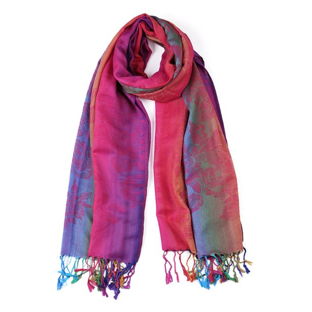 Large Tassel Wrap Multi-Color Floral Gradient Color Scarf for Women