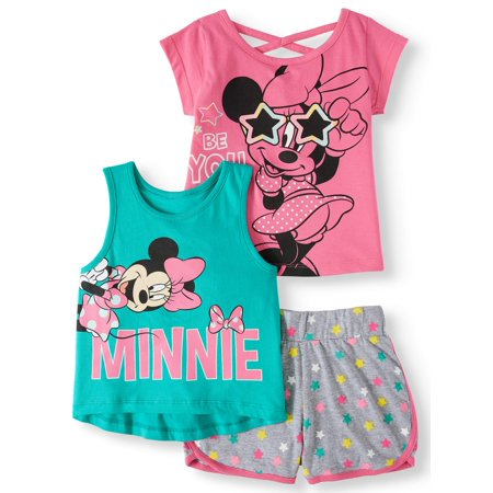 Minnie Mouse Tank Top, T-shirt and Shorts, 3pc Outfit Set (Toddler Girls)](Baby Minnie Mouse Outfit)