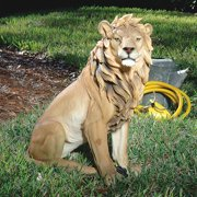 Design Toscano King of Beasts Lion Outdoor Garden Statue, 27 Inch, Polyresin, Full Color