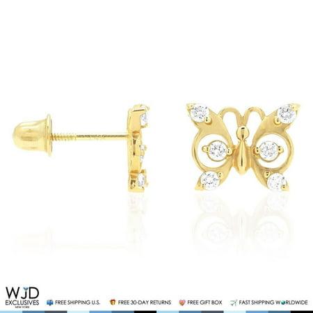 14k Solid Yellow Gold White Zircon Erfly Baby Back Stud Kids Earrings