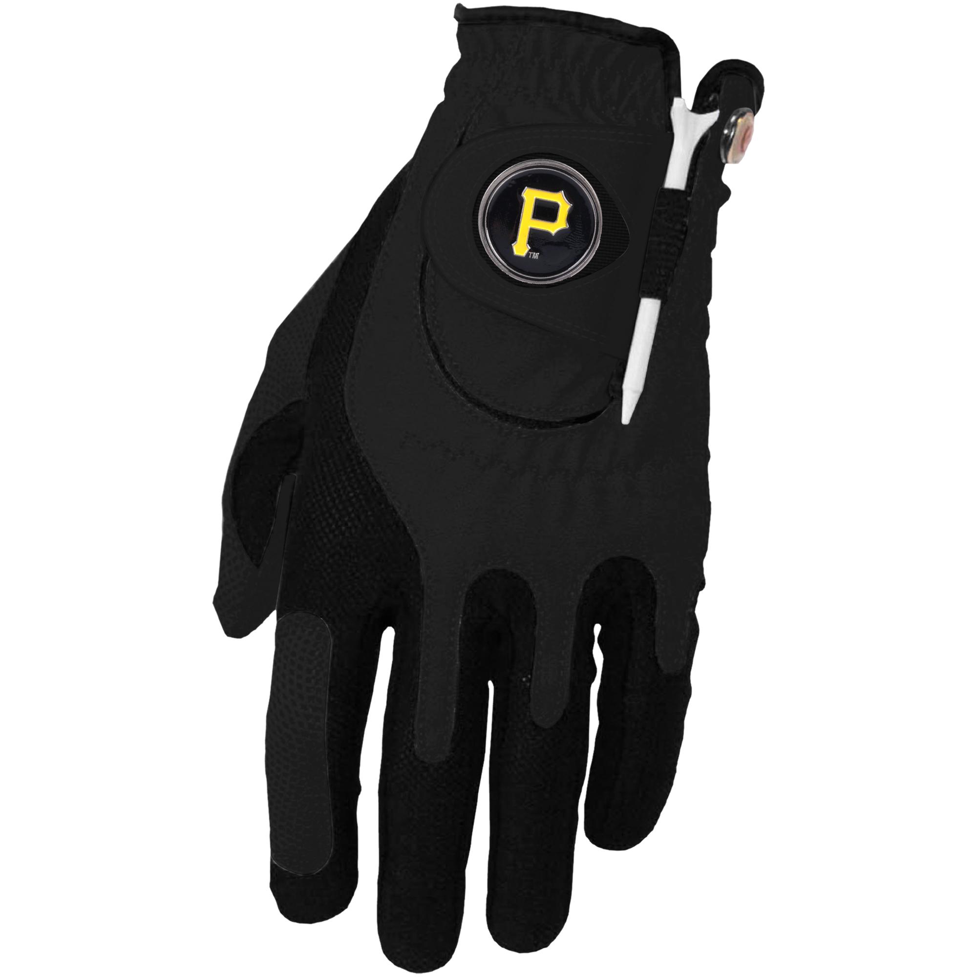 Pittsburgh Pirates Left Hand Golf Glove & Ball Marker Set - Black - OSFM