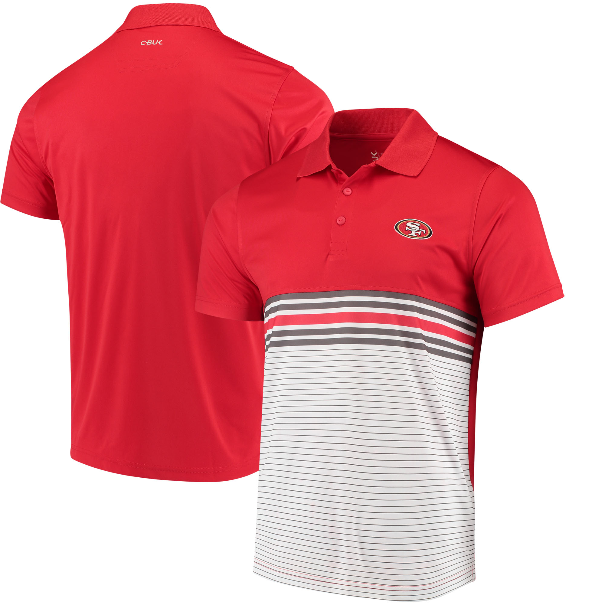 San Francisco 49ers CBUK by Cutter & Buck Heron Lakes Striped Polo - Scarlet