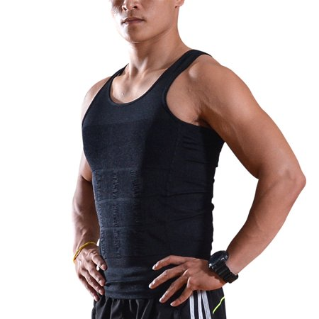 Men Sleeveless Slimming Compression Shirt Vest Tank Under Base Layer Body Shaper-M