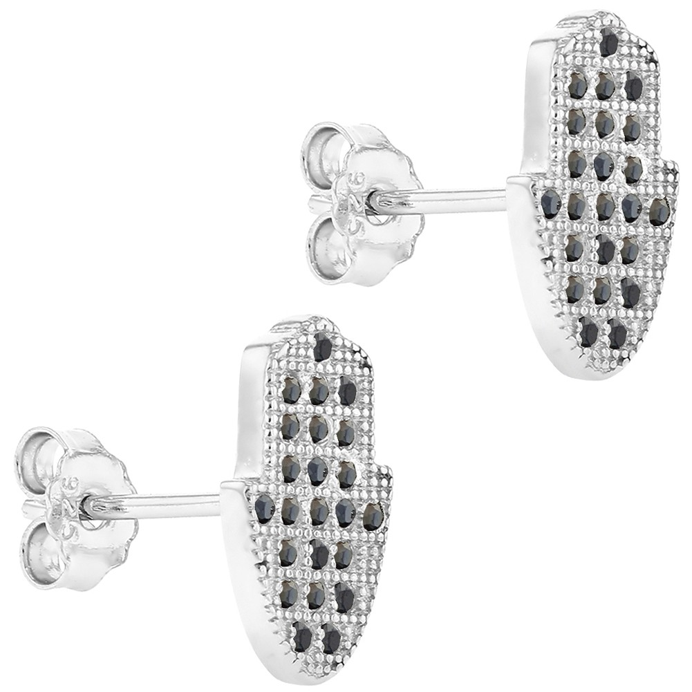 925 Sterling Silver Hamsa Hand Stud Earrings Black CZ Good Luck Protection - image 3 of 4
