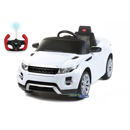 12V Electric power car Range Rover Evoque Ride on toy for kids with Remote Control LED lights MP3 music and horn - White 6 Wheel Range Rover