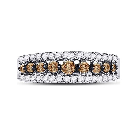 10kt White Gold Womens Round Cognac-brown Color Enhanced Diamond Triple Row Band Ring 1/2 Cttw - image 2 de 4