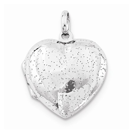 Sterling Silver Rhodium plated 20mm Polished Sparkle Heart Locket (Silver Plated Heart Finding)