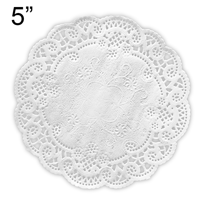 """5"""" White French Lace Paper Doily   Quantity: 1000 by Paper Mart"""