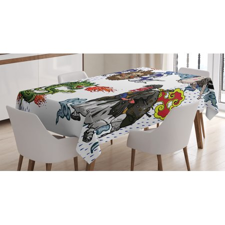 Dragon Decor Tablecloth, Japanese Manga Figures Dragon with Fire a Man with Kimono Geisha Tribal Theme, Rectangular Table Cover for Dining Room Kitchen, 60 X 84 Inches, Green Blue, by Ambesonne