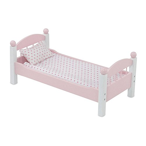 18 Inch Doll Furniture | Lovely Pink and White Single Stackable Bed, Includes Plush Polka... by Emily Rose Doll Clothes