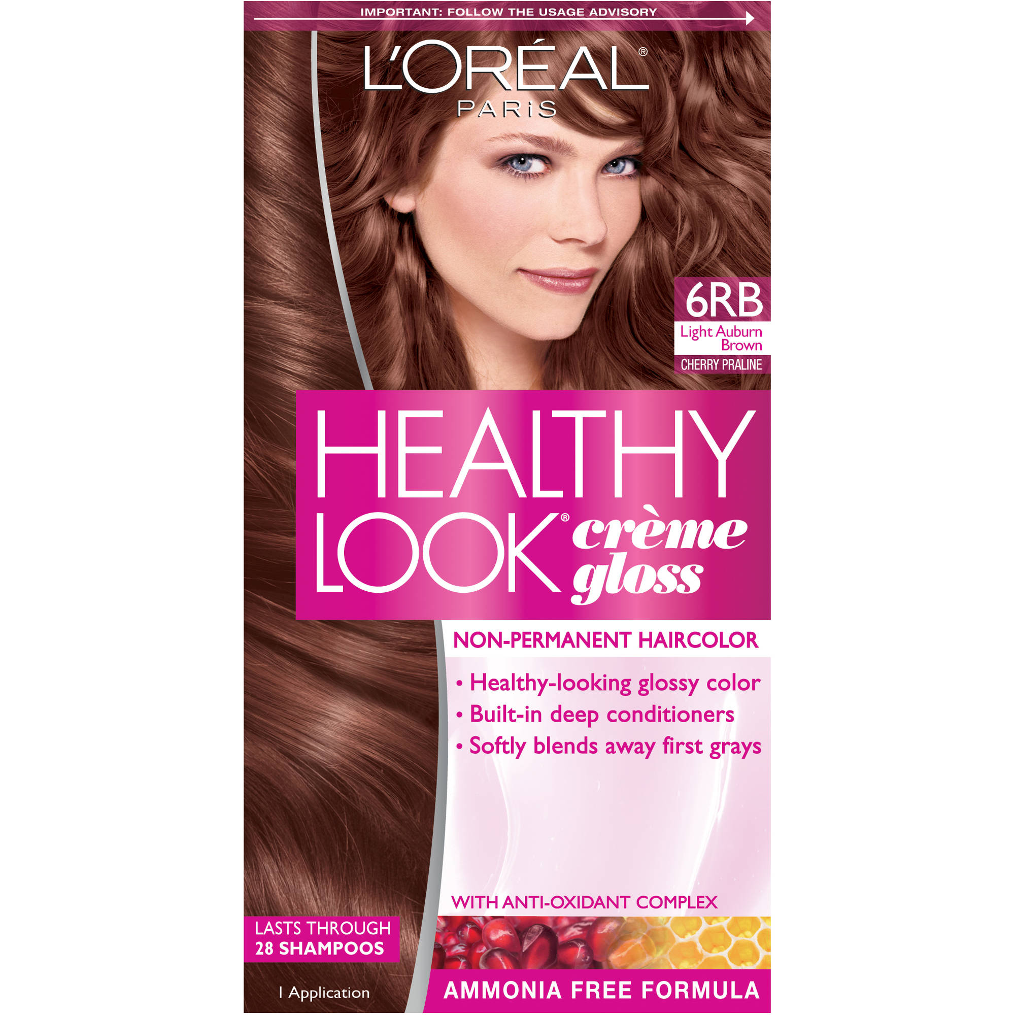 L'Oreal Paris Healthy Look Creme Gloss Hair Color, 6RB Light Auburn Brown Cherry Praline