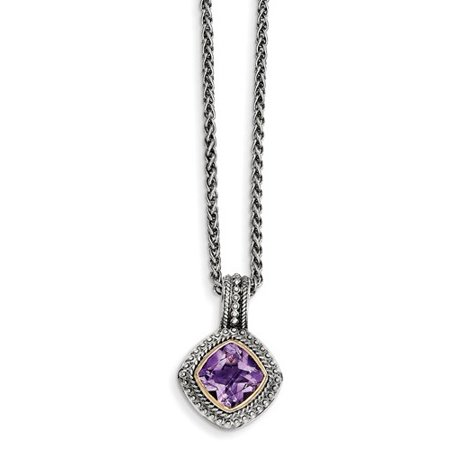 - Sterling Silver w/ 14k Yellow Gold Amethyst Vintage Style Necklace
