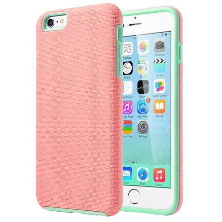 ULAK Slick Armor iPhone 6 Plus 6s Plus Slim Thin Fit Case, Rubber Hard Cover for Apple iPhone 6 Plus (5.5 Inch)(Mint Green/Baby Pink)