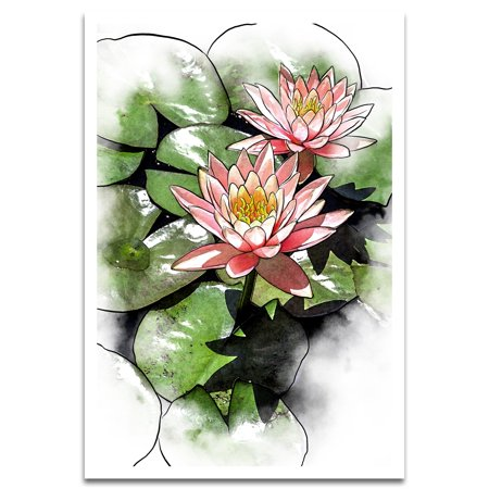 Visionary Prints Pond Of Lotus Floral And Botanical Wall Art Pink Lotus Flowers Floral Art Modern Contemporary Poster Print 13x19 Inch