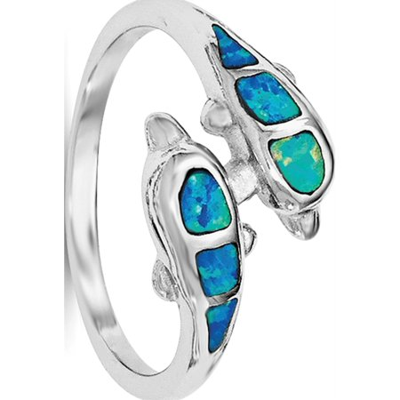 Sterling Silver Rhodium Created Blue Opal Dolphins Ring