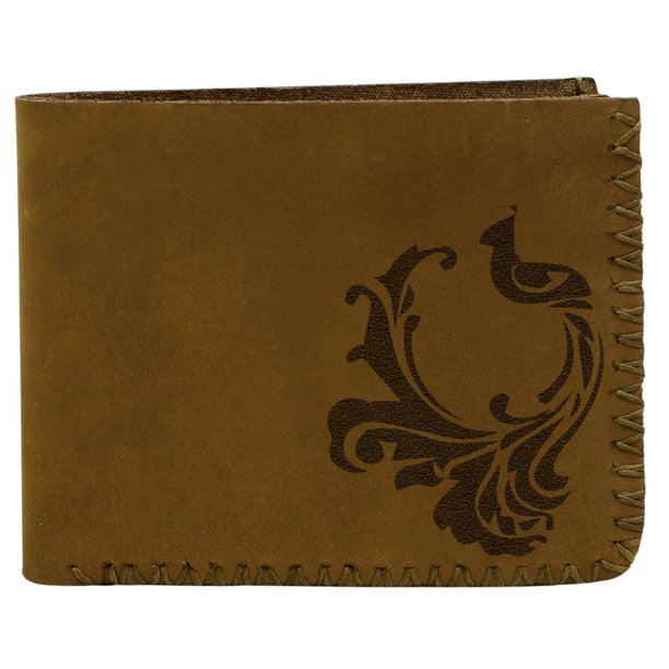 Men's Peacock Abstract -1 Handmade Natural Genuine Pull-up Leather Wallet