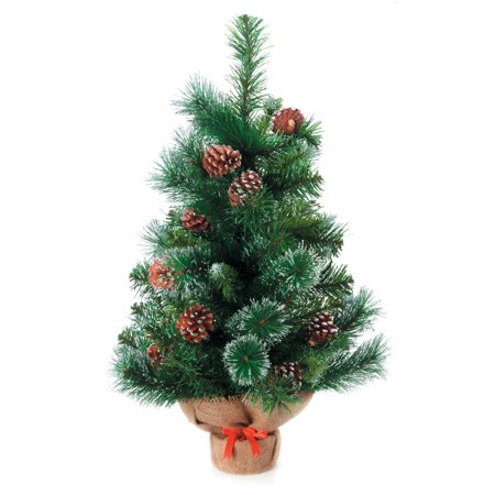 (Mini Decorated Christmas Tree: Glittered Pine with Burlap Base, 18 inches)
