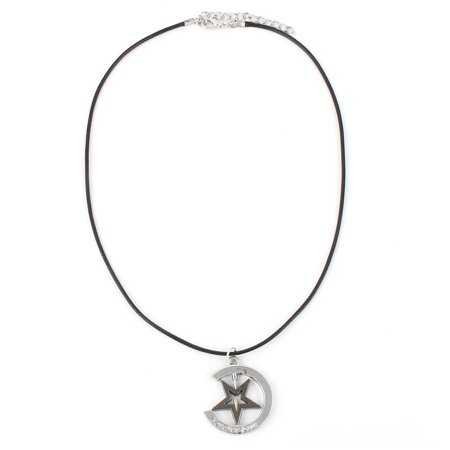 Unisex Nylon Rope Metal Hollow Star Moon Pendant Ornament Chain Necklace