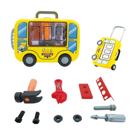 Mozlly Mozlly Little Engineer's Trolly Luggage Tool Kit Construction Storage Container Set Tools Educational Creative Toy Cosplay Costume Props Accessories Pretend Play Ideal Gift Toys Games 4.25 Inch