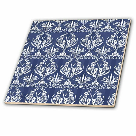 3dRose French Country Style Floral Damask in blue - Ceramic Tile, 6-inch