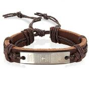 Men's Brown Leather Lord's Prayer Adjustable Bracelet (14mm)