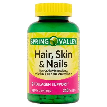 Spring Valley cheveux, peau et ongles plus Biotin Compléments alimentaires caplets, 240 count
