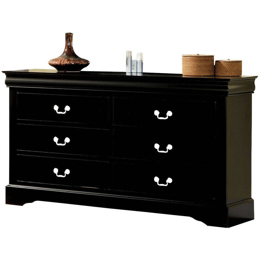 Acme Furniture Louis Philippe III Black Dresser with Six Drawers