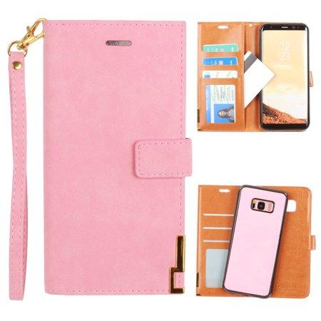 Metal Wristlet (CellularOutfitter Samsung Galaxy S8 Plus Ultrasuede Wallet Case - Metal Trimmed Design w/ Detachable Slim Case and Wristlet - Pink )