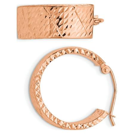 14k Rose Gold Rose Diamond Cut Hoop (8x22mm) Earrings - image 3 of 3