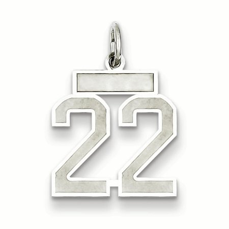 9mm Laser Etched Italian Charm - 925 Sterling Silver Small Number 22 Pendant Charm Necklace Sport Laser Etched Gifts For Women For Her